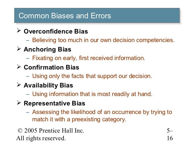 overconfidence bias anchoring biases confirmation bias availablity bias Confirmation bias there are a number of possible biases in judgment one of these biases is the confirmation bias the confirmation bias is.