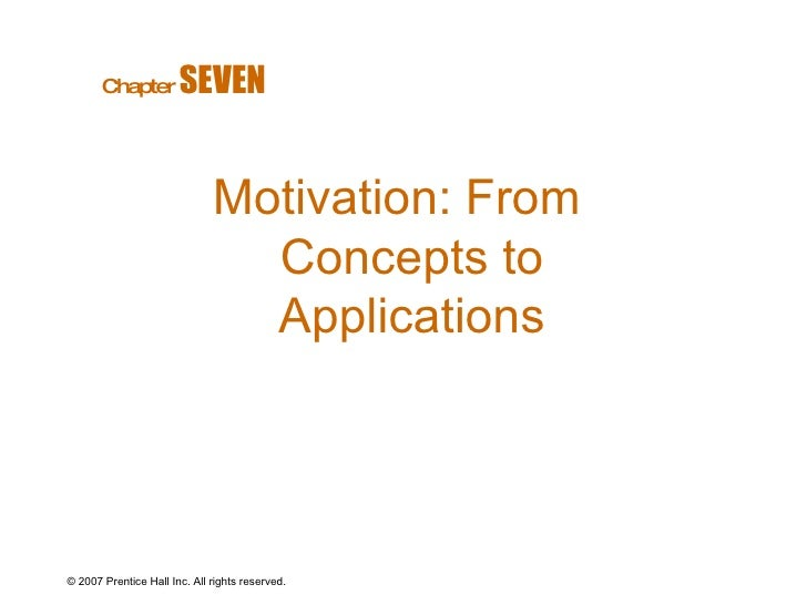 © 2007 Prentice Hall Inc. All rights reserved. Motivation: From Concepts to Applications Chapter   SEVEN