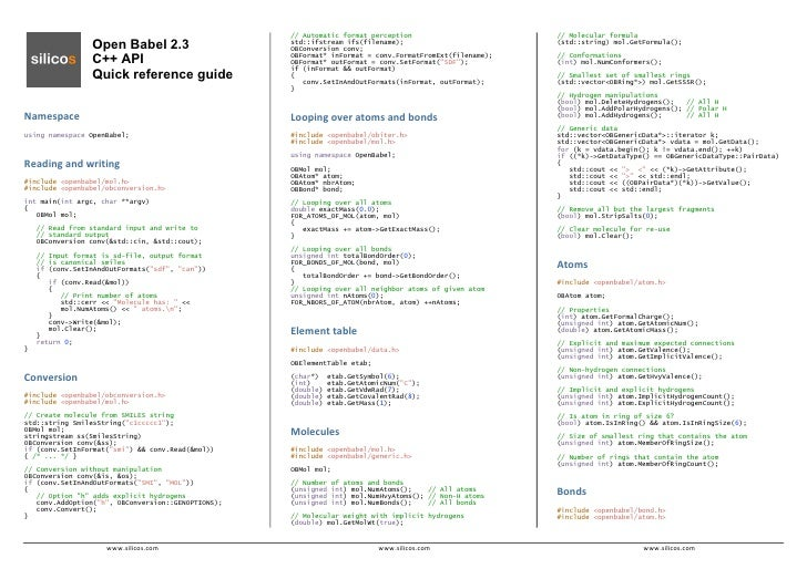 Open Babel 2.3 Quick Reference