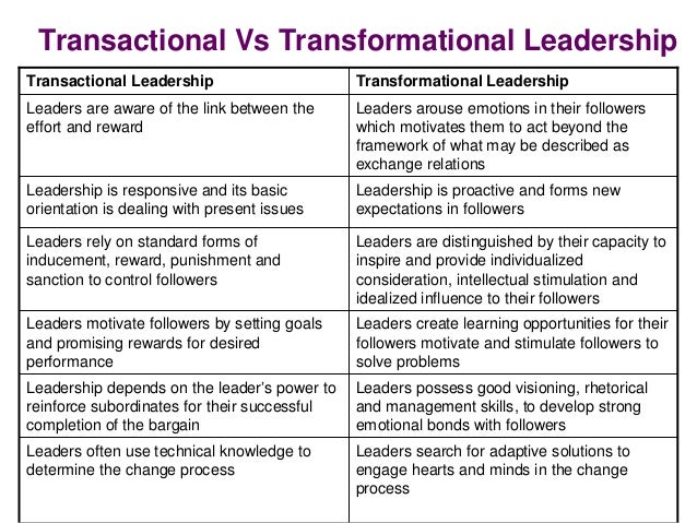 "transformation or transactional leadership a better Transformational leadership: 5 big mistakes execs make ""instead of thinking about whether to use transactional or transformational leadership, leaders should."