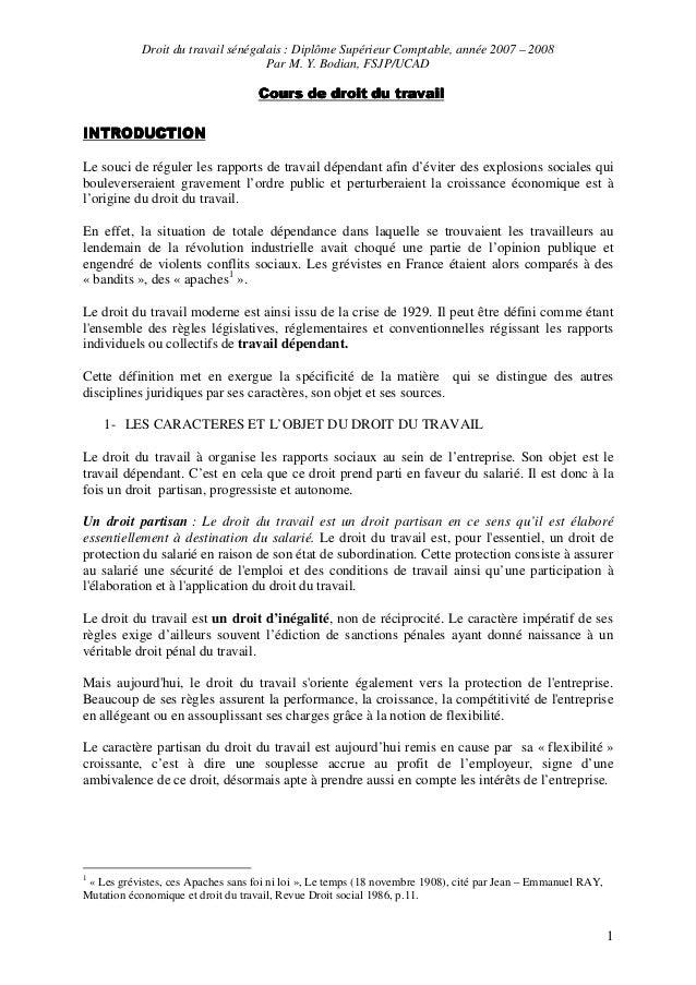 Droit du travail sénégalais : Diplôme Supérieur Comptable, année 2007 – 2008 Par M. Y. Bodian, FSJP/UCAD 1 Cours de droit ...