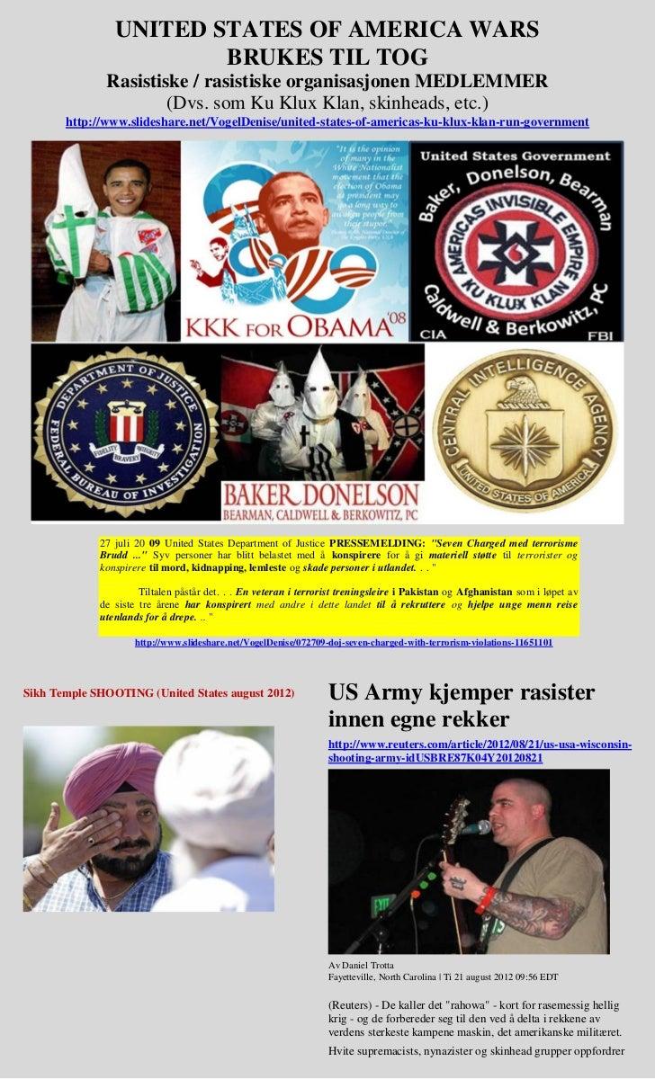 Obama   us wars used to train white supremacist (norwegian)