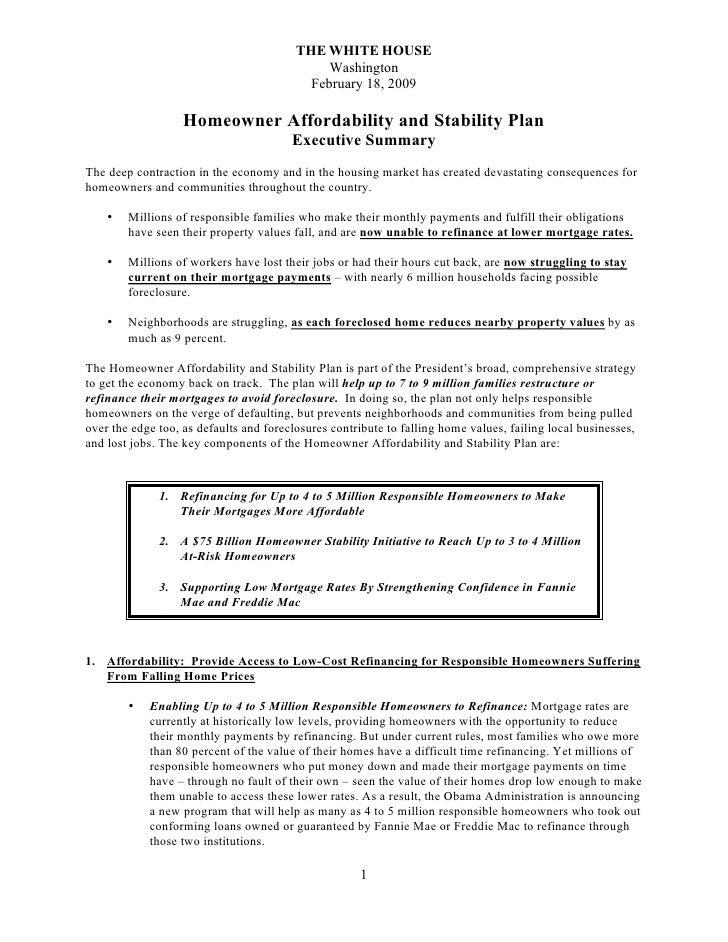 Obamas' Mortgage Bailout Fact Sheet 02182009