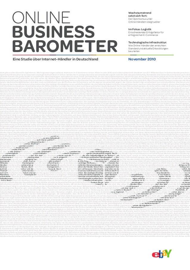ONLINE BUSINESS BAROMETEREine Studie über Internet-Händler in Deutschland November 2010 Wachstumstrend setzt sich fort: De...