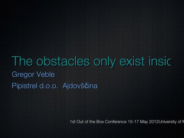 The obstacles only exist insideGregor VeblePipistrel d.o.o. Ajdovščina                  1st Out of the Box Conference 15-1...