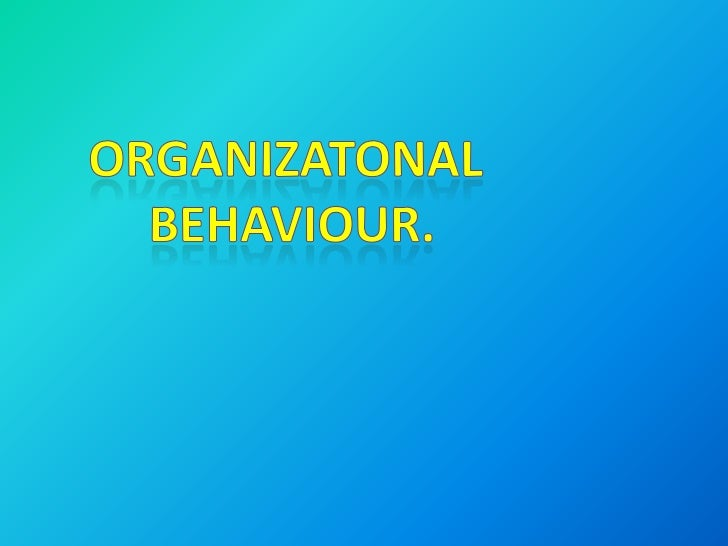 Organizational Behavior Chapter 1