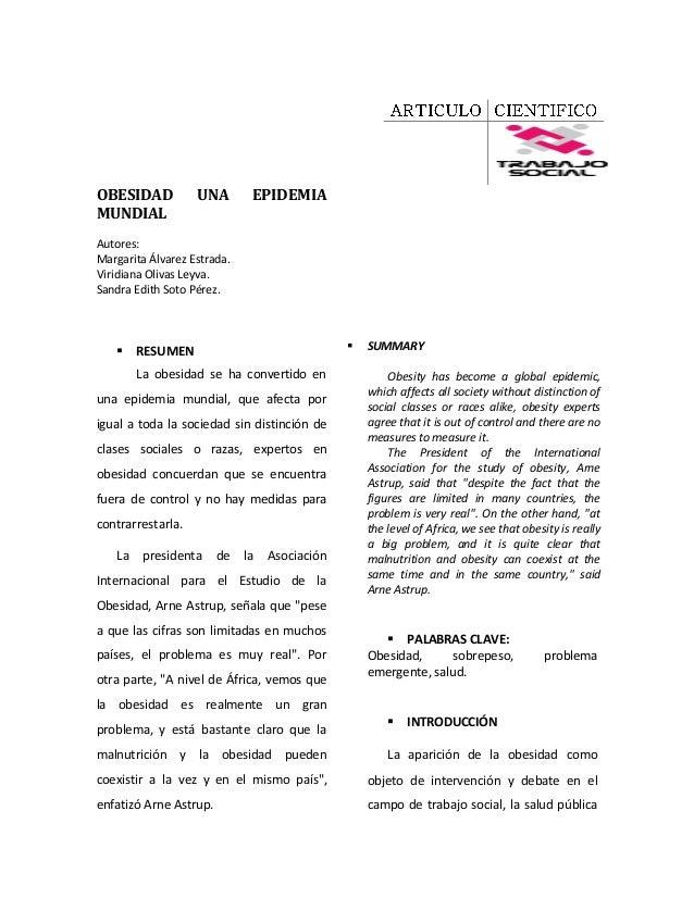 OBESIDAD           UNA        EPIDEMIAMUNDIALAutores:Margarita Álvarez Estrada.Viridiana Olivas Leyva.Sandra Edith Soto Pé...