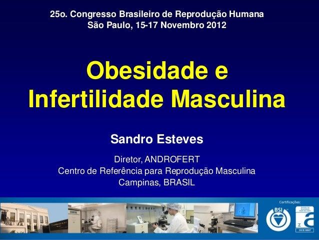 25o. Congresso Brasileiro de Reprodução Humana         São Paulo, 15-17 Novembro 2012      Obesidade eInfertilidade Mascul...