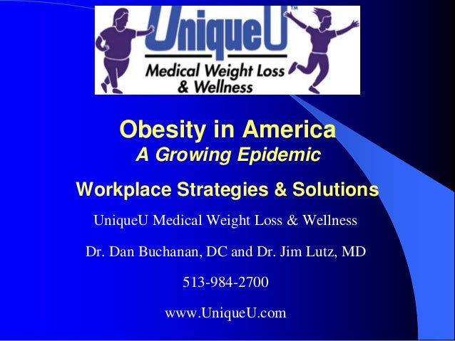 Obesity in America        A Growing EpidemicWorkplace Strategies & Solutions  UniqueU Medical Weight Loss & Wellness Dr. D...