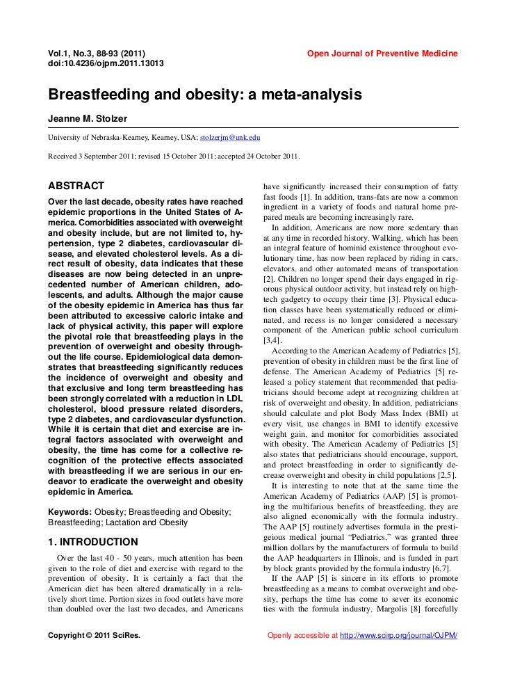 Breastfeeding and obesity: a meta-analysis