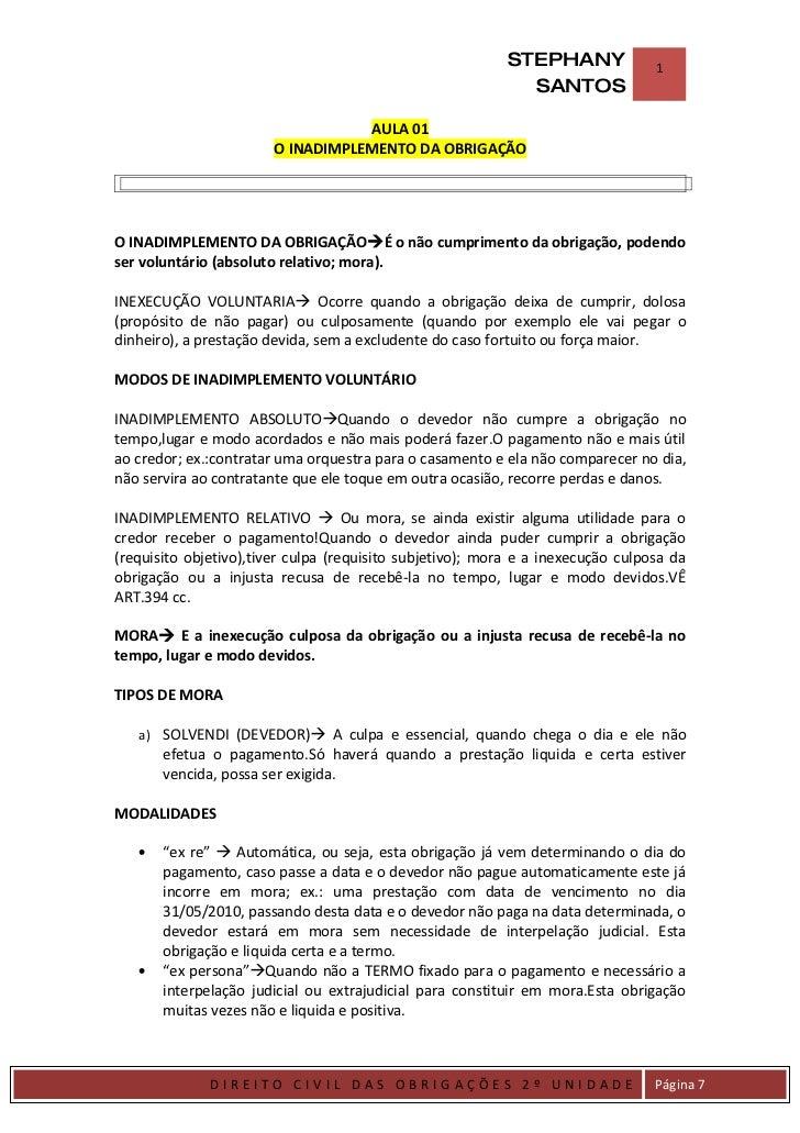 INADIMPLEMENTO DAS OBRIGAÇÕES/CONTRATOS