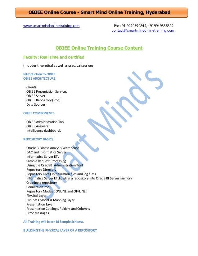 Obiee online training course content