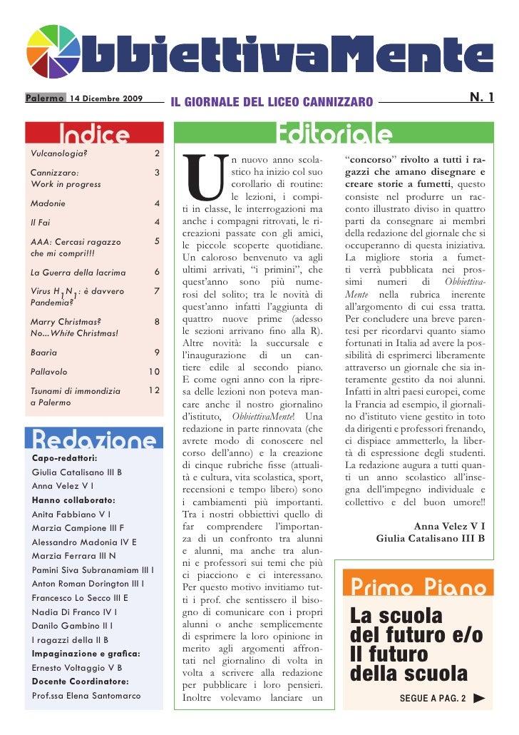 Palermo 14 Dicembre 2009             IL GIORNALE DEL LICEO CANNIZZARO                                        N. 1         ...