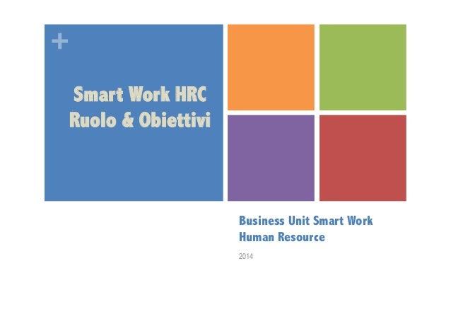 +  Business Unit Smart Work  Human Resource  2014  Smart Work HRC  Ruolo & Obiettivi