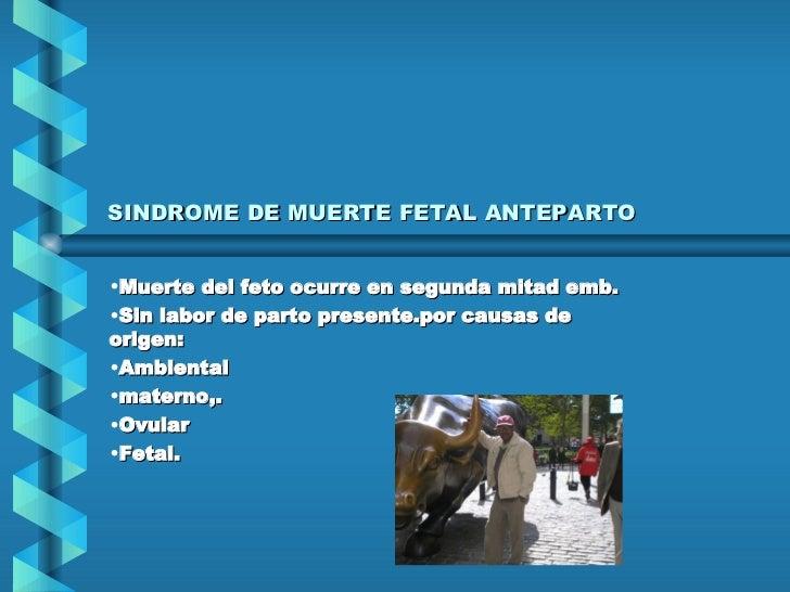 SINDROME DE MUERTE FETAL ANTEPARTO <ul><li>Muerte del feto ocurre en segunda mitad emb. </li></ul><ul><li>Sin labor de par...