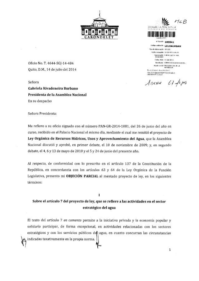 Objeción parcial al proyecto de ley orgánica de recursos hídricos, usos y aprovechamiento del agua(1)