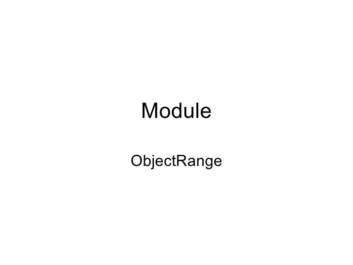 Module ObjectRange