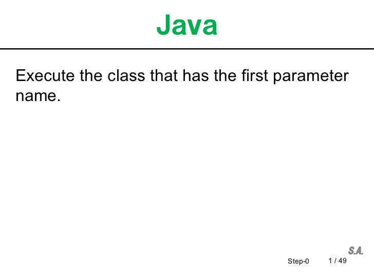 Execute the class that has the first parametername.                                     Step-0   1 / 49