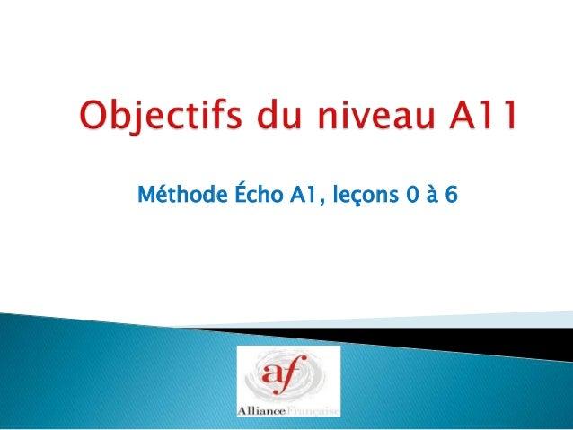 Méthode Écho A1, leçons 0 à 6