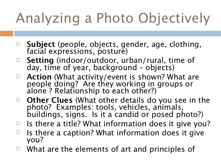 Find a picture and write a subjective/objective essay about it?