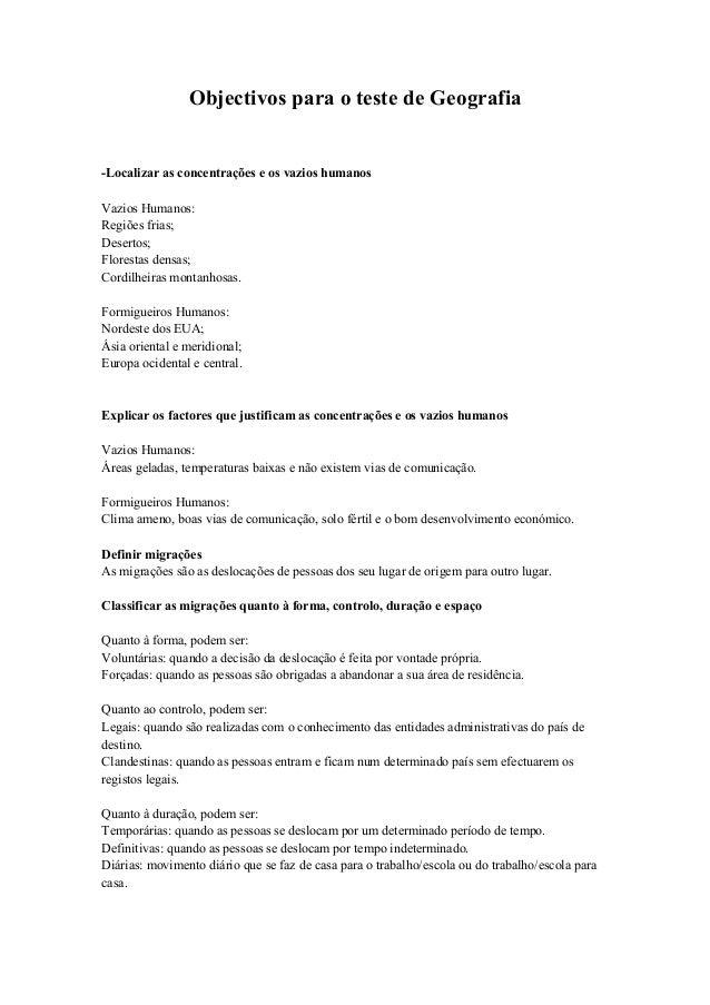 Objectivos para o teste de Geografia-Localizar as concentrações e os vazios humanosVazios Humanos:Regiões frias;Desertos;F...