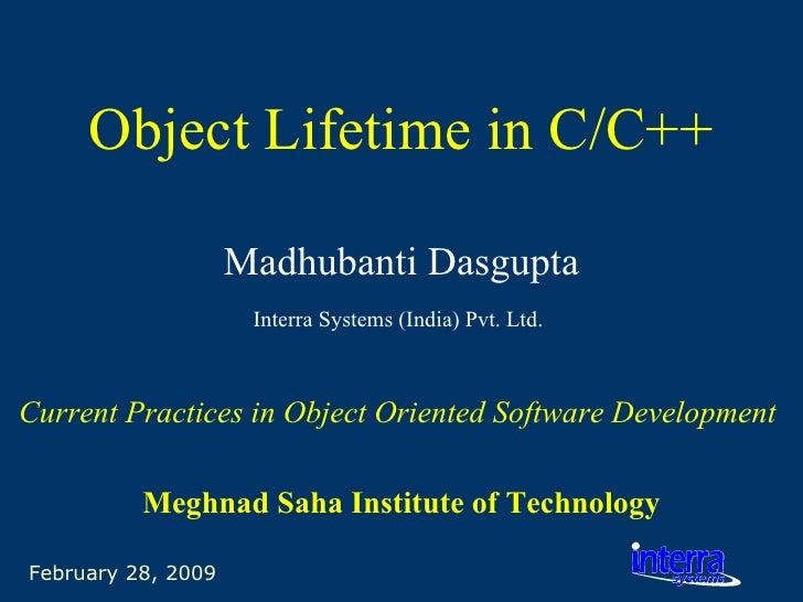Object Lifetime In C C++