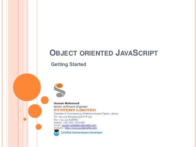 OBJECT ORIENTED JAVASCRIPT Getting Started