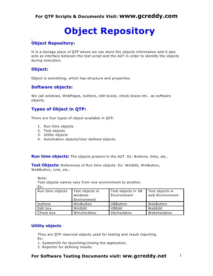 For QTP Scripts & Documents Visit:               www.gcreddy.com                     Object Repository Object Repository: ...