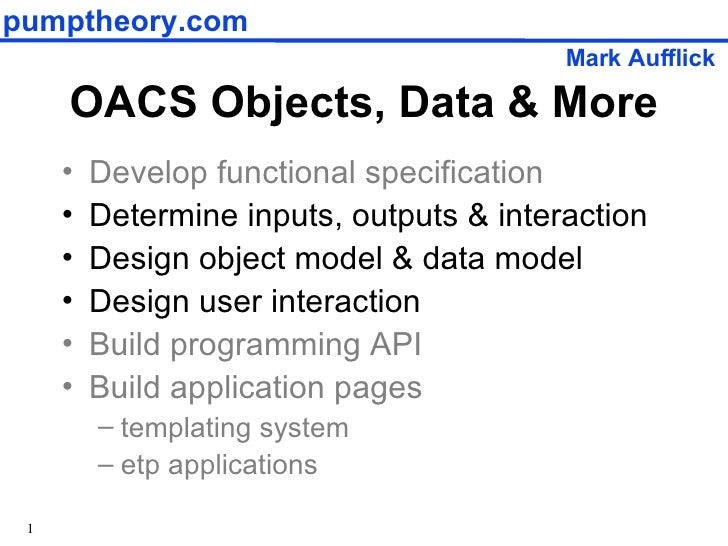 Objects, Data And More (OpenACS)