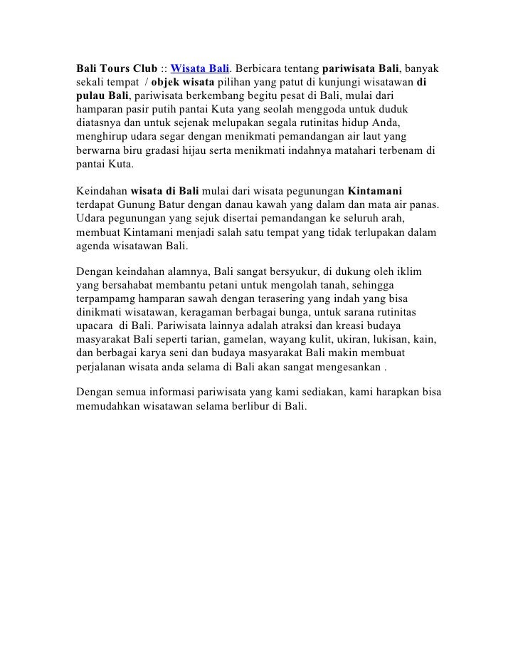 Bali Tours Club :: Wisata Bali. Berbicara tentang pariwisata Bali, banyaksekali tempat / objek wisata pilihan yang patut d...
