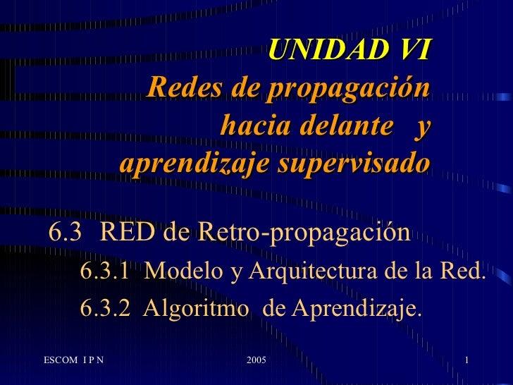 UNIDAD VI Redes de propagación hacia delante  y aprendizaje supervisado 6.3 RED de Retro-propagación 6.3.1  Modelo y Arqui...