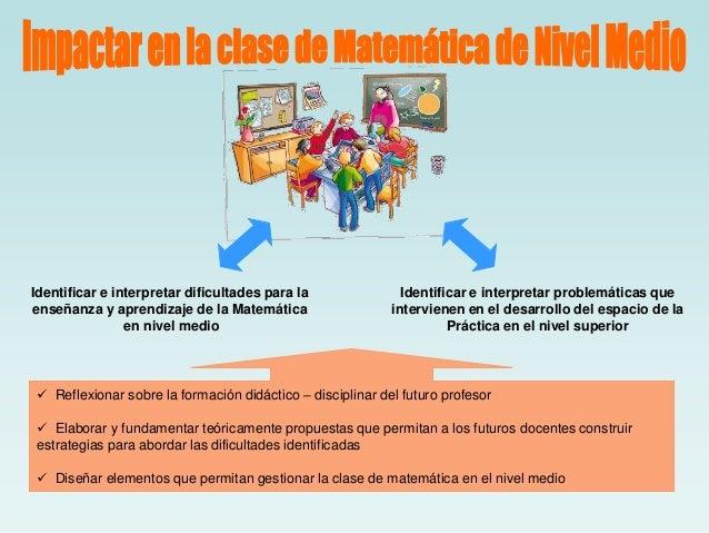 Identificar e interpretar dificultades para la enseñanza y aprendizaje de la Matemática en nivel medio  Identificar e inte...