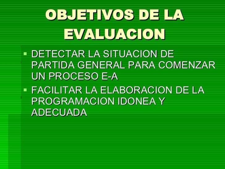 OBJETIVOS DE LA EVALUACION <ul><li>DETECTAR LA SITUACION DE PARTIDA GENERAL PARA COMENZAR UN PROCESO E-A </li></ul><ul><li...
