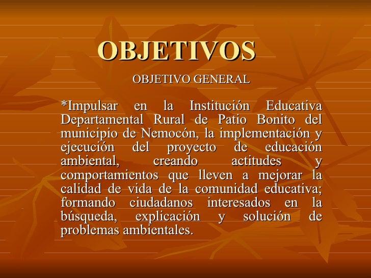 OBJETIVOS OBJETIVO GENERAL *Impulsar en la Institución Educativa Departamental Rural de Patio Bonito del municipio de Nemo...