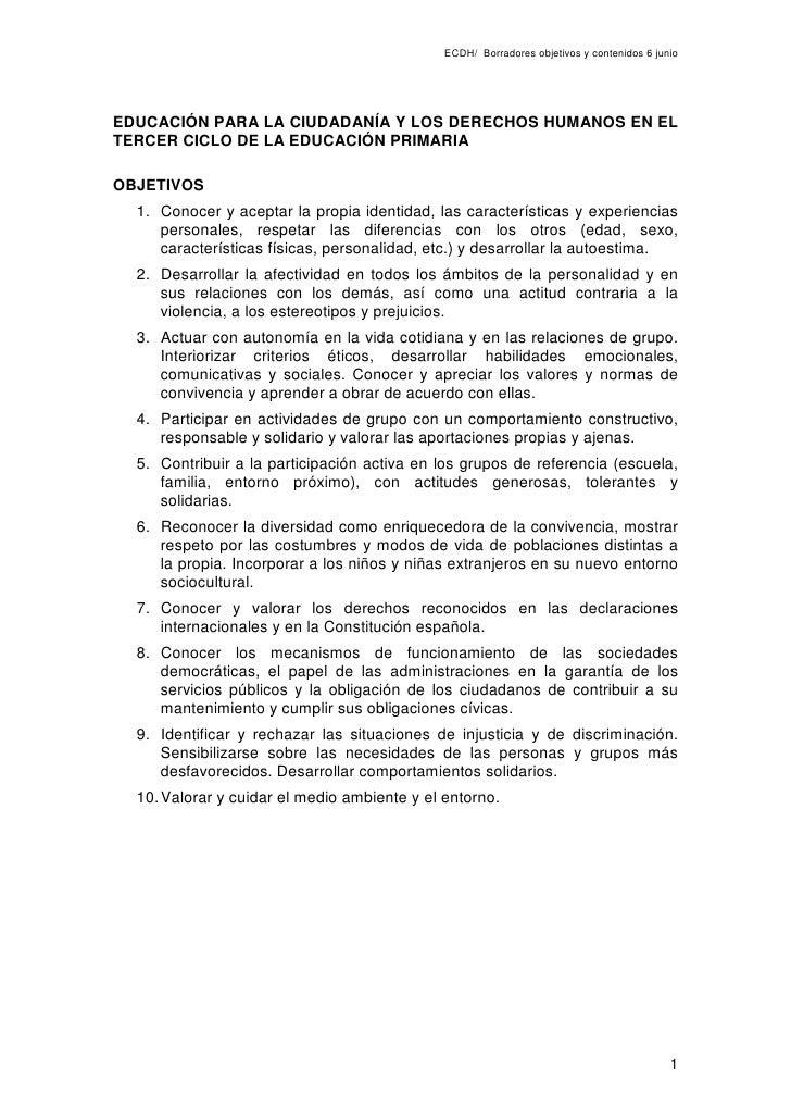 ECDH/ Borradores objetivos y contenidos 6 junio     EDUCACIÓN PARA LA CIUDADANÍA Y LOS DERECHOS HUMANOS EN EL TERCER CICLO...