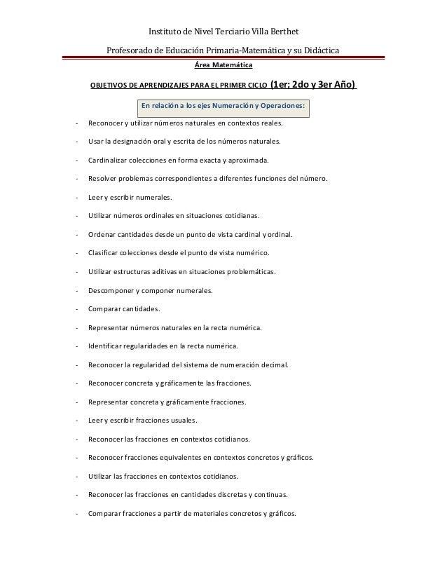 Instituto de Nivel Terciario Villa Berthet Profesorado de Educación Primaria-Matemática y su Didáctica Área Matemática OBJ...