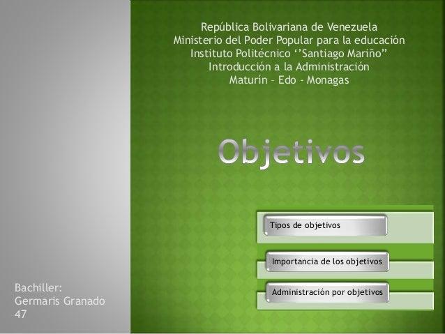 República Bolivariana de Venezuela Ministerio del Poder Popular para la educación Instituto Politécnico ''Santiago Mariño'...