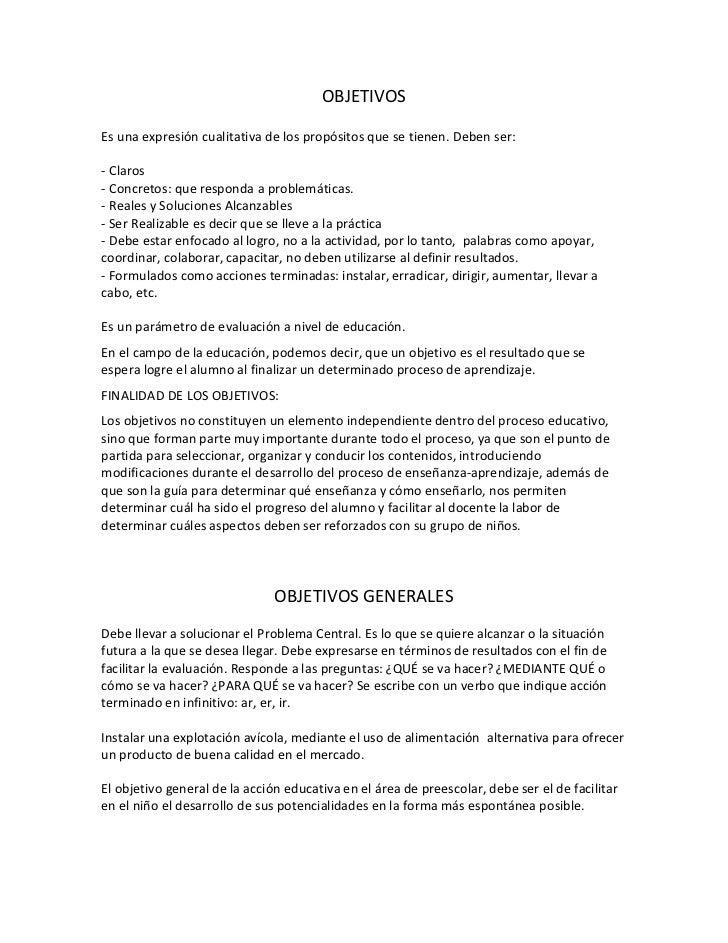 Objetivos, objetivos generales y objetivos especificos