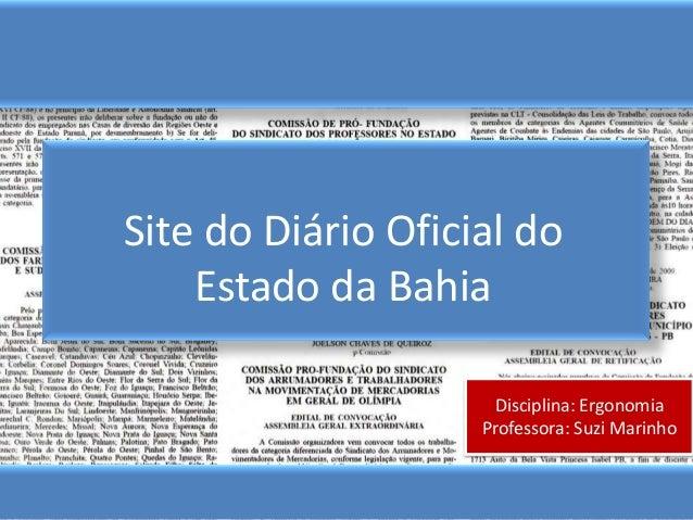 Ergonomia/Diário Oficial da Bahia - Ainda não finalizado.