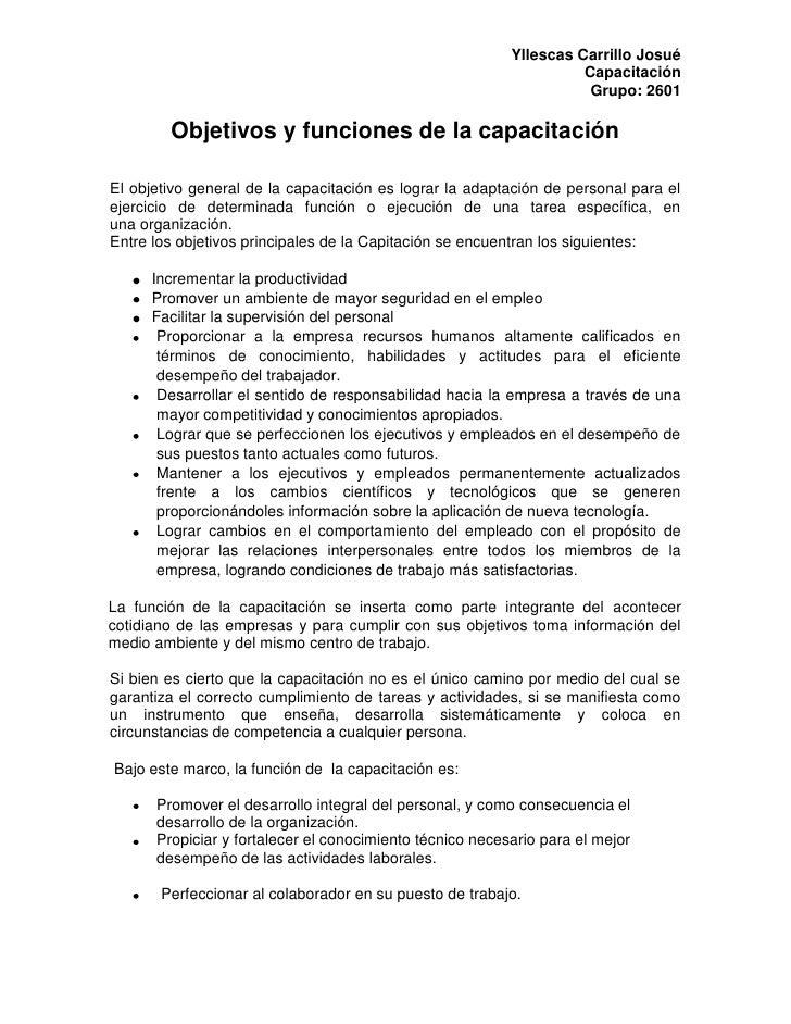 Objetivos y funciones de la capacitación