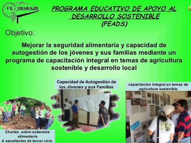 PROGRAMA EDUCATIVO DE APOYO AL DESARROLLO SOSTENIBLE (PEADS) Objetivo: Mejorar la seguridad alimentaría y capacidad de aut...