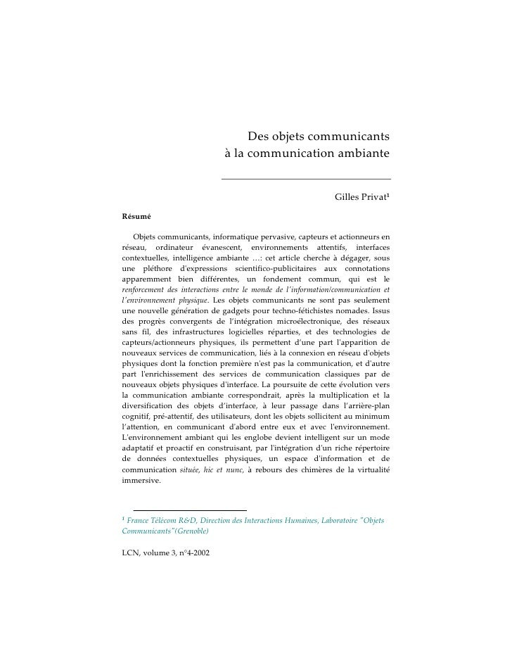 Des objets communicants                               à la communication ambiante                                         ...