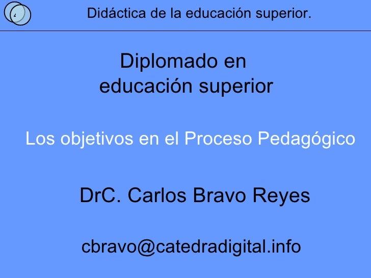 Los objetivos en el Proceso Pedagógico 4 Didáctica de la educación superior. Diplomado en  educación superior DrC. Carlos ...