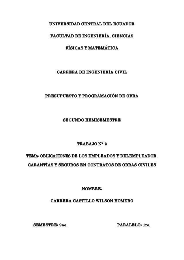 UNIVERSIDAD CENTRAL DEL ECUADOR FACULTAD DE INGENIERÍA, CIENCIAS FÍSICAS Y MATEMÁTICA CARRERA DE INGENIERÍA CIVIL PRESUPUE...