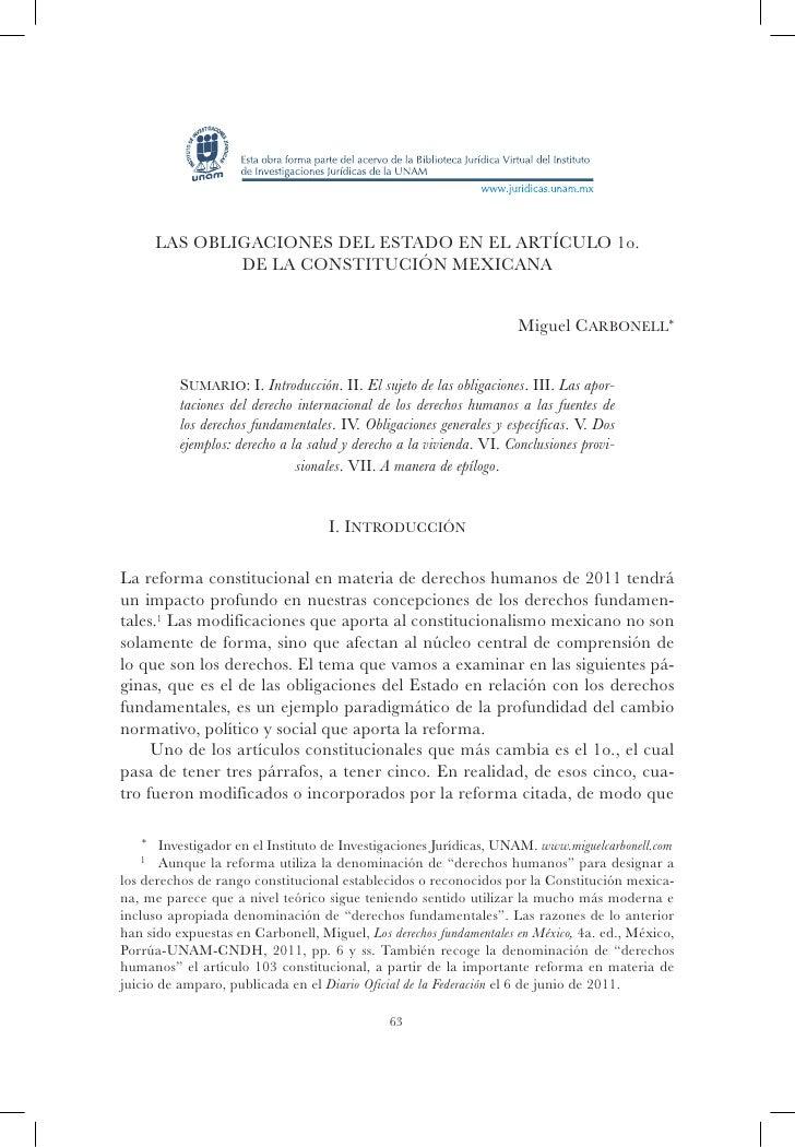 Las obligaciones del Estado en el artículo 1o.             de la Constitución mexicana                                    ...