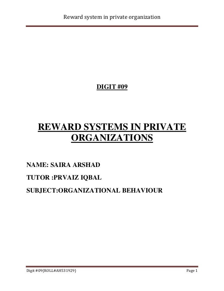 Reward system in private organization                             DIGIT #09     REWARD SYSTEMS IN PRIVATE          ORGANIZ...