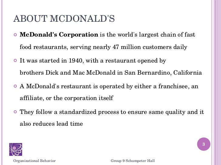 mcdonalds for org bihaviour There are many menus displayed on the internet of the nutritious values at mcdonalds  smita@ibsindiaorg course  all nurisng organizational values essays.