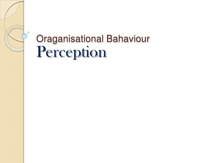 Oraganisational Bahaviour<br />Perception<br />