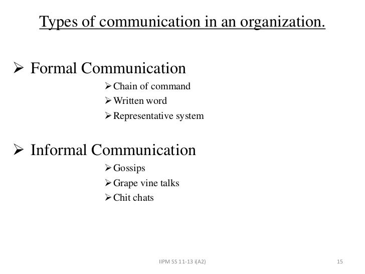 formal and informal communication an organizational Formal and informal organizations are complementary and interdependent harnessing the power of both isn't about choosing one over the other, but finding an  formal organization is the lines and boxes that illustrate the official structures of power and paths of decision-making it is the master.