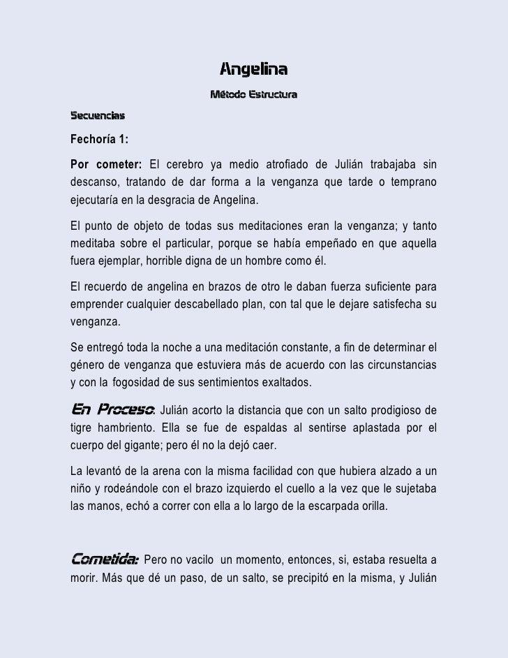Angelina<br />Método Estructura<br />Secuencias<br />Fechoría 1: <br />Por cometer: El cerebro ya medio atrofiado de Juliá...